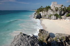 Tulum ruins with sandy beach. Watching the sandy beach and Tulum ruins from a rock. Tulum. Yucatan. Mexico stock image