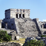 Tulum ruins square. View of famous archaeological ruins of Tulum in Mexico royalty free stock images