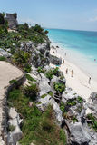 Tulum Ruins Temple Yucatan Mexico Royalty Free Stock Photography