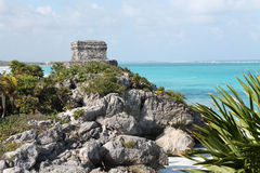 Tulum and the sea Stock Photography
