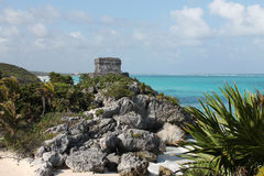 Tulum and the sea Royalty Free Stock Photo