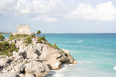 Tulum seaside view. Landscape of the El Castillo ruins in Tulum, the site of a Pre-Columbian Maya walled city royalty free stock photography