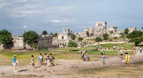 Tulum tempel Yucatan Mexico Royaltyfria Foton