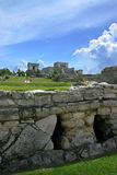 Tulum Temple. Main temple in Tulum Mexico as shot from lowere priests house stock photography