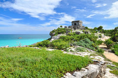 Tulum Temple. Ancient Mayan ruins Tulum Caribbean turquoise Royalty Free Stock Images