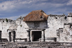Tulum Temple Thatched Roof Stock Image