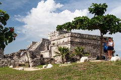 Tulum Temple Yucatan Mexico Royalty Free Stock Images