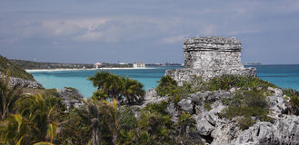 Tulum vista. Tulum, Mexico. Mayan ruins with tropical Caribbean sea background stock images