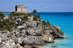 Tulum watch tower overlooking the Caribbean stock photo