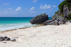 Tulum. White sand Caribbean beach near Tulum ruins in Mexico stock photography