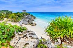 Tulum. Yucatan, Mexico. Ancient Mayan temple of Tulum in Caribbean sea shore Stock Photography