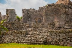 Tulum, Yucatan, Mexico: Archeological ruins, built by the Mayas. Tulum, Yucatan, Mexico: Archeological ruins built by the Mayas. Ancient city Royalty Free Stock Image