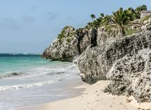 Maya civilization ruins near the sea at Tulum. At Tulum in Yucatan, Mexico, you can combine visit to Maya ruins and sand beach pleasure stock photography