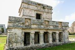 Maya civilization ruins at Tulum. At Tulum in Yucatan, Mexico, you can combine visit to Maya ruins and sand beach pleasure stock image