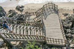 Direct access to sea at Tulum. At Tulum in Yucatan, you can combine visit to Maya ruins and sand beach pleasure royalty free stock photo