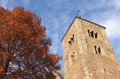 Tum collegiate in autumn. The Romanesque medieval collegiate church in Tum, Leczyca, Poland and the autumn tree Stock Image