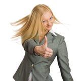 tum för affärskvinnashowtecken upp Royaltyfri Foto