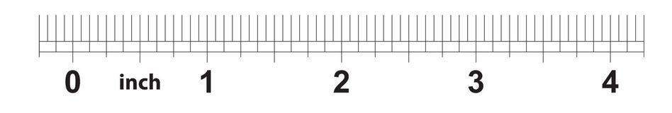 4 tum linjal Att markera exakthet är en som är sextonde av en tum Imperialistiskt raster stock illustrationer