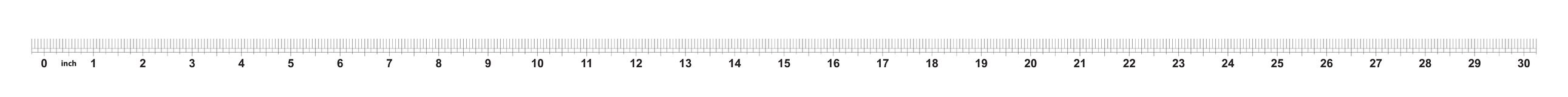 30 tum linjal Att markera exakthet är en som är sextonde av en tum Imperialistiskt raster royaltyfri illustrationer