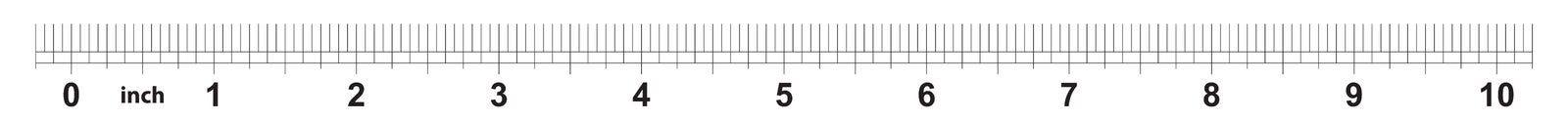 10 tum linjal Att markera exakthet är en som är sextonde av en tum Imperialistiskt raster stock illustrationer