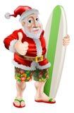 Tum som surfar upp Santa Claus vektor illustrationer