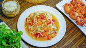 Tum tailandés del som de la ensalada de la papaya Fotos de archivo
