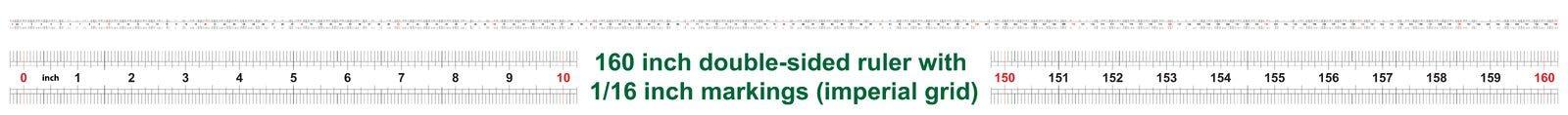 160 tum tvåsidig linjal Att markera exakthet ?r en som ?r sextonde av en tum Imperialistiskt raster stock illustrationer