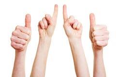 Tum up och pekfingret Fotografering för Bildbyråer