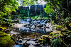 Tum So-nor Waterfall, Tham So Nuea Waterfall, Flowing Water, fal. Tum So-nor Waterfall or Tham So Nuea Waterfall, It is high 10 meters and there is only one Stock Image
