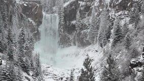 Tumalo Falls Oregon Winter Snow Close. Winter snow at Tumalo Falls, Oregon close up with audio stock footage