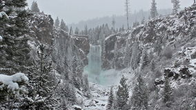 Tumalo Falls Oregon Winter Snow Distance stock video