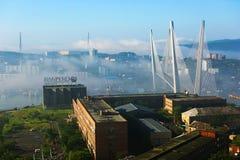 Tuman i staden av Vladivostok Pylonerna av de ryska och guld- broarna som döljas i dimman royaltyfri foto