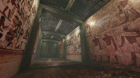 Tumba animada con wallpaintings viejos en Egipto antiguo almacen de video