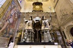 Tumba de Cristoforo Colombo en la catedral de Sevilla, Andalucía, Fotos de archivo