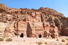 Tumba de Renaissanca, valle del al-Farasa del lecho de un río seco, Petra Imagen de archivo libre de regalías