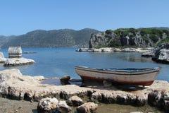 Tumba y barco de Lycian Fotografía de archivo libre de regalías