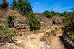 Tumbas de Etruscan en Cerveteri, Italia Imagen de archivo