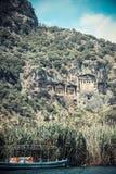 Tumbas de la roca de Carian Imágenes de archivo libres de regalías