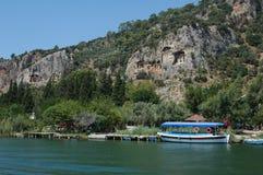 Tumbas de la roca de Fethiye Oludeniz Foto de archivo libre de regalías