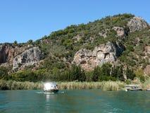 Tumbas de la roca de Lycian en Turquía Imágenes de archivo libres de regalías