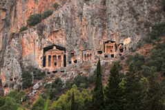 Tumbas de Lycian de Caunos Fotos de archivo
