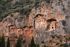 Tumbas de Lycian de Caunos imagen de archivo libre de regalías