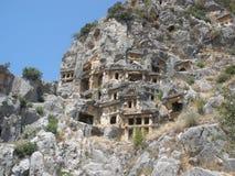 Tumbas de Lycian en Myra imagen de archivo libre de regalías