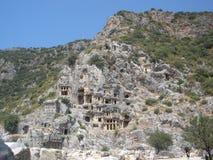 Tumbas de Lycian en Myra imagenes de archivo