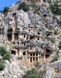 Tumbas de Lykian en Turquía foto de archivo