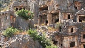 tumbas del Roca-corte de la necrópolis antigua de Lycian. Viejo nombre de Myra - Demre Turquía metrajes