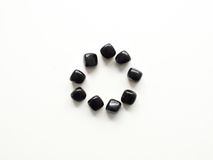 Tumbled Black Obsidian stones circle for crystal therapy treatme Stock Photo