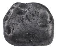 Tumbled shungite mineral gem stone isolated. Macro shooting of natural gemstone - tumbled shungite mineral gem stone isolated on white background Royalty Free Stock Image
