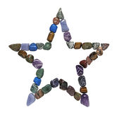 Tumbled Stones Star Shape. Five Point Crystal Healing Star on a white background Royalty Free Stock Photography