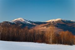 Tumbledown Mountain. Winter landscape of Tumbledown Mountain in Western Maine Royalty Free Stock Photo